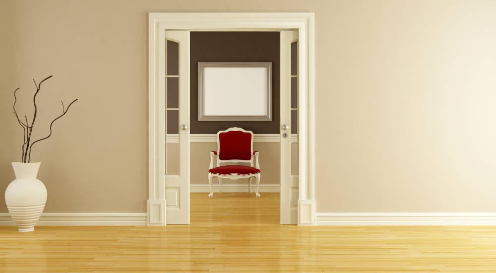 Porte double à galandage classique