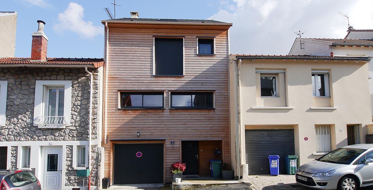 La maison bois en site urbain dense. Conception, construction : FranceMaisons-idf