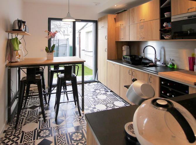 maison de ville design asymétrique Nanterre cuisine